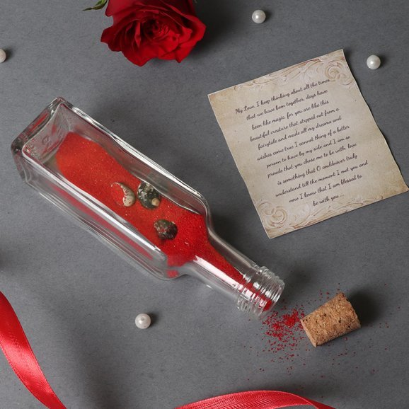 Love Note in Opened View with Bottle