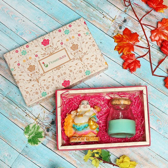 Luck In A Box - Gift pack of a laughing Buddha and scented candle