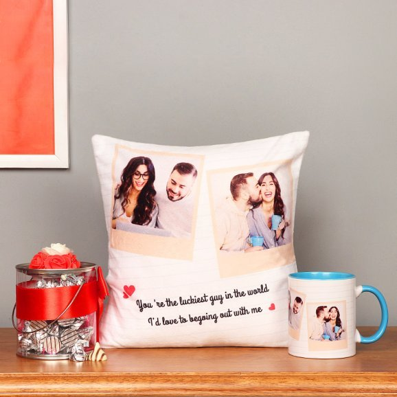Combo of Personalised Cushion and Mug with Chocolates