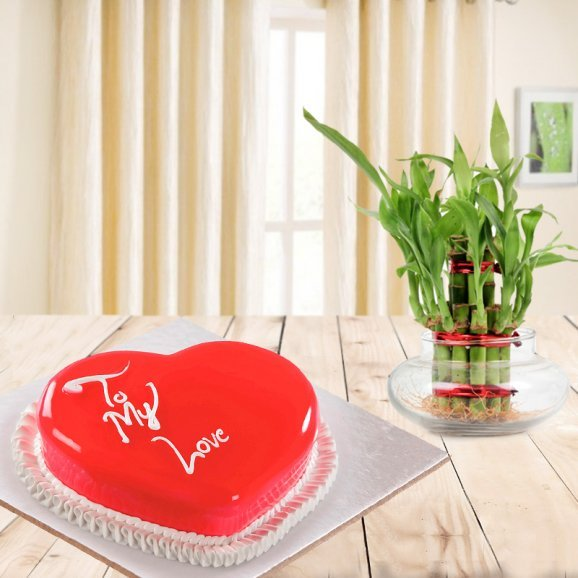 Lustrous Brilliance Combo - A combo gift of strawberry heart shaped cake and lucky bamboo plant