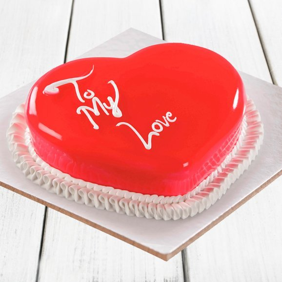 A strawberry heart shaped cake - Part of Lustrous Brilliance Combo