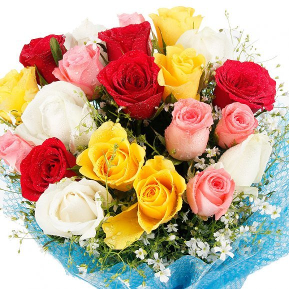 Zoom in view of 20 mixed Roses bunch - First gift of Magic Of Bond
