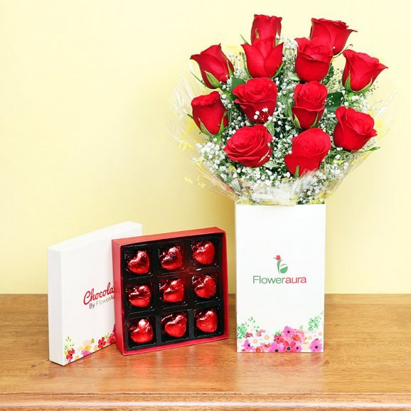 Twelve Red Roses Bunch with Chocolates Combo