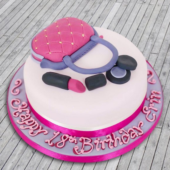 Makeup Bag Cake - A fondant cake for her