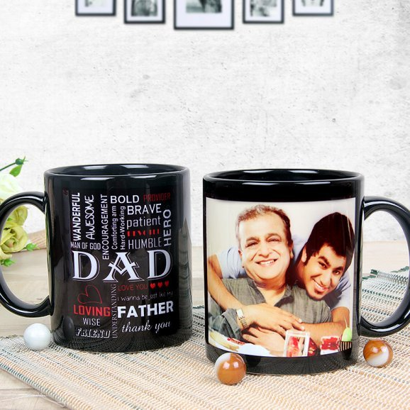 Personalised Dad Black Fathers day Mug with Both Sided View
