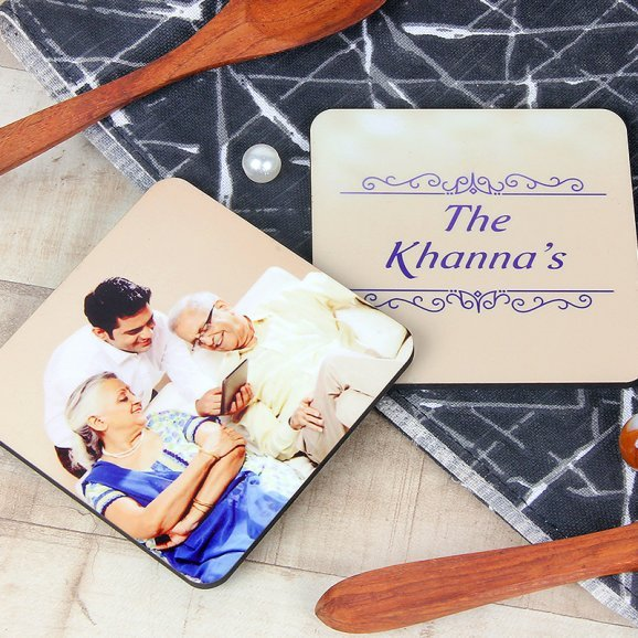 Personalized Family Two Square Coasters