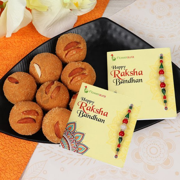 Two Rakhis with One Kg Besan Laddu