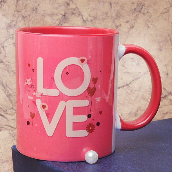 Pink Mug with Love Quote with Front Sided View
