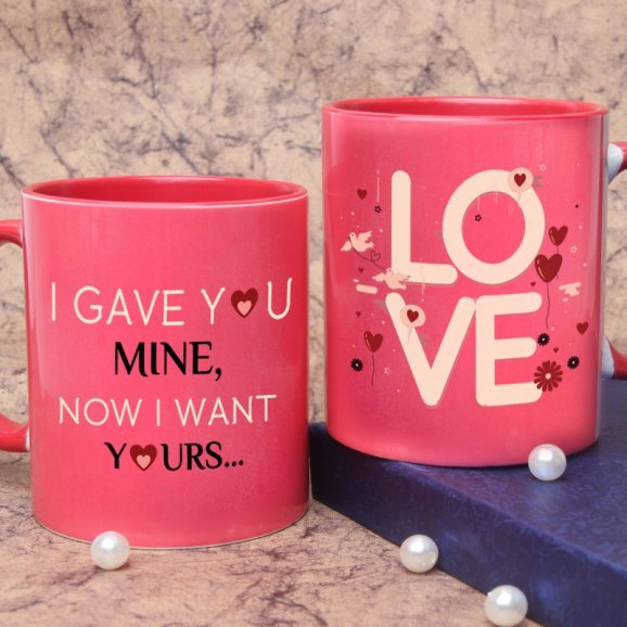 Pink Mug with Love Quote with Both Sided View