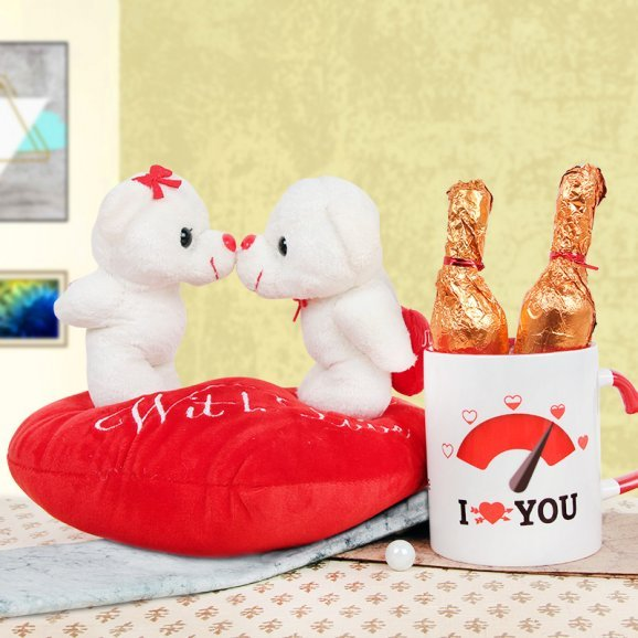 Teddies with Attached Cushion and 2 Chocolates and Mug
