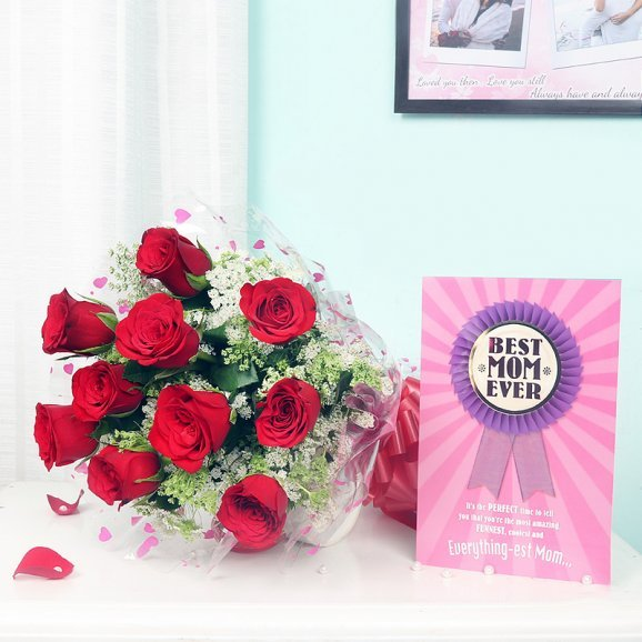 Bunch of Red Roses and Card Combo for Mom