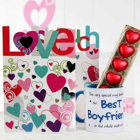 A Love You So Much Card A pack of heart-shape handmade chocolates and A Coffee Mug