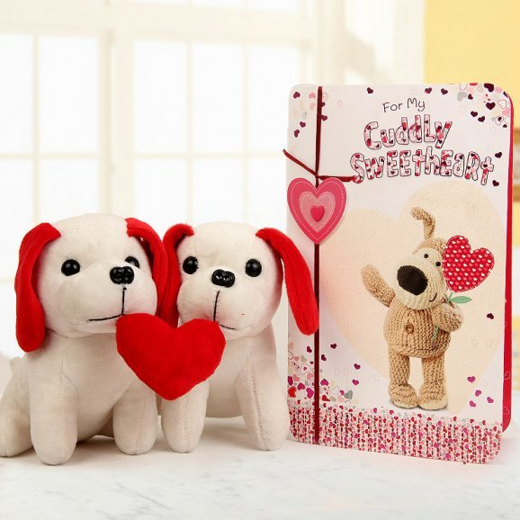 A pair of 6 inch soft toy puppies with heart and one Cuddly Sweetheart card