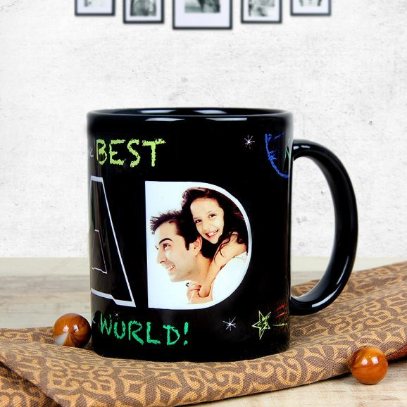 My Hero My Dad - Black Personalised Mug with Front Sided View