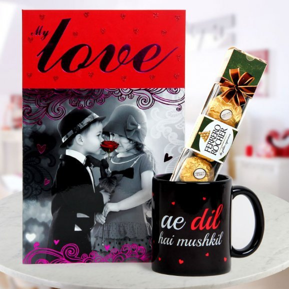 My Love card A pack of 4 Ferrero Rocher and A ADHM Coffee Mug