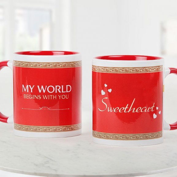 My World Begins With You Sweetheart red Mug