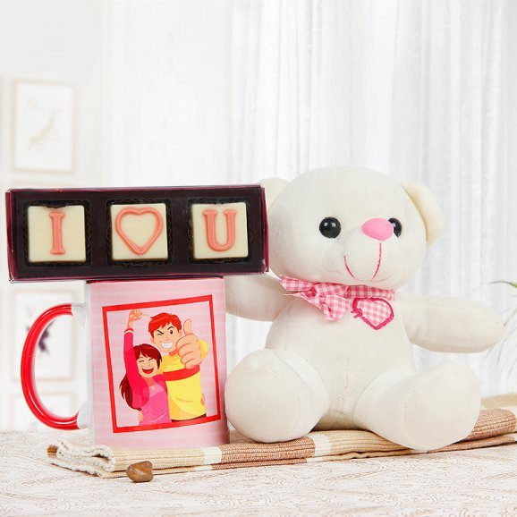 A 6 inches teddy and chocolates with a mug