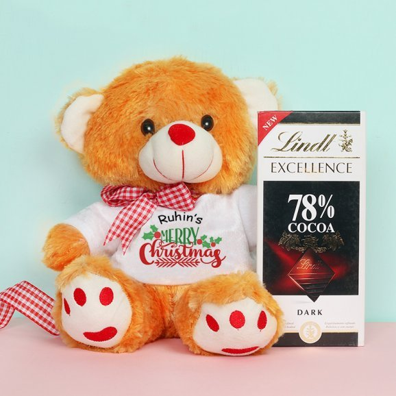 Personalised Christmas Teddy with Chocolate Gift Combo