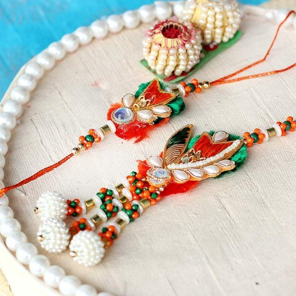 Orange and Green Mix Bhaiya Bhabhi Rakhi