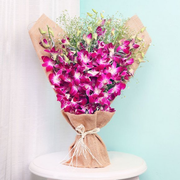 Bunch of Purple Orchids in Jute Packing