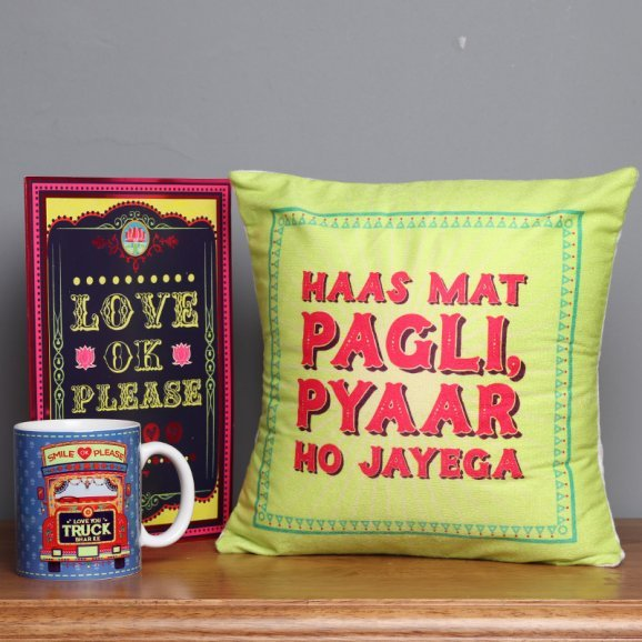 Combo of Cushion and Mug with a Card