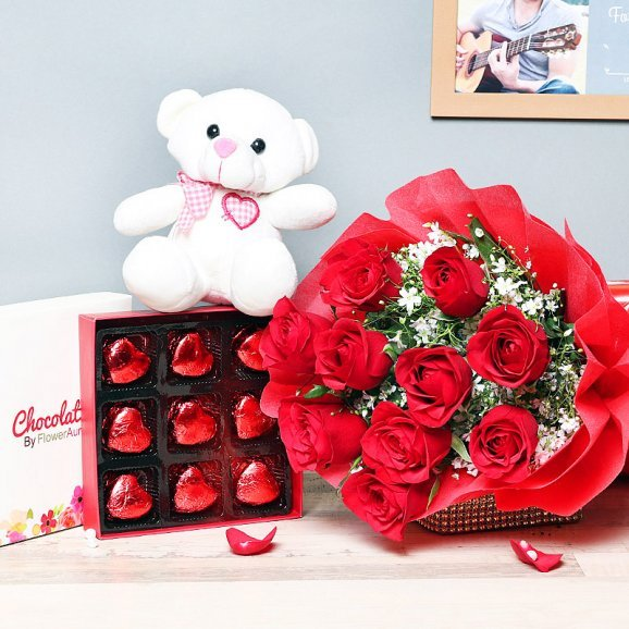 Combo of Red Roses Bunch and Chocolates with Teddy