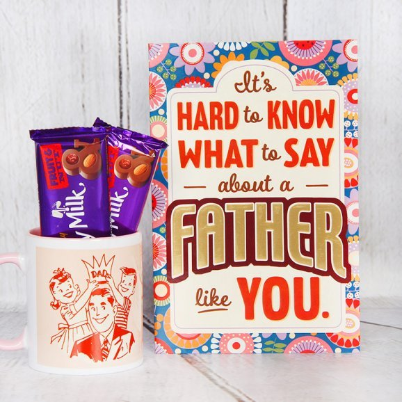 Mug and Chocolates Alongwith Greeting Card Combo for Dad