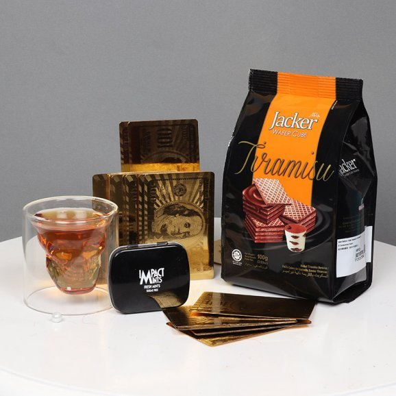 Golden Cards with Waffy and Mint alongwith Whisky Glass