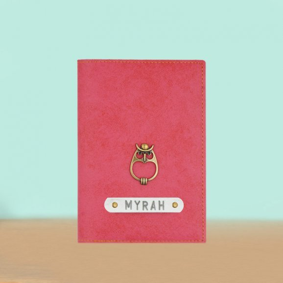 Peach Personalized Passport Holder