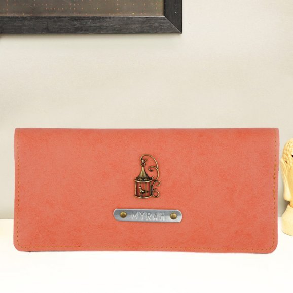 Personalised Peach Coloured Womens Wallet