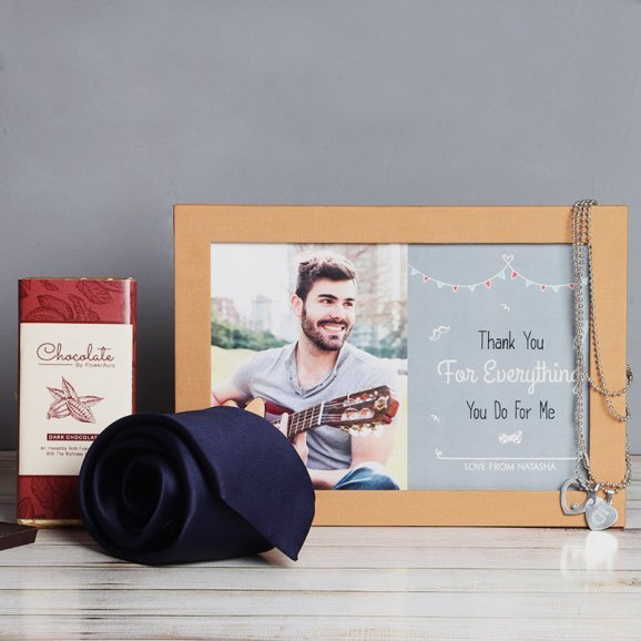 Personalised Photo Frame with Tie and Chocolate Combo