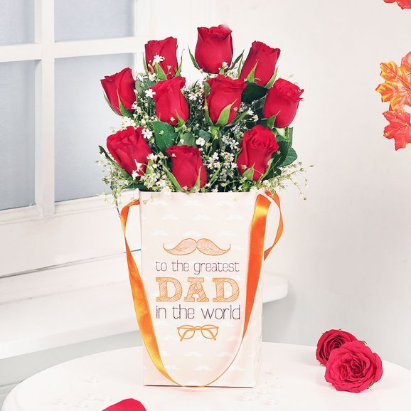 Roses for Dad in a Flower Box
