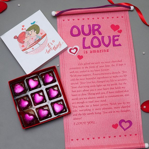 Handmade Chocolates with Love Quotation Combo