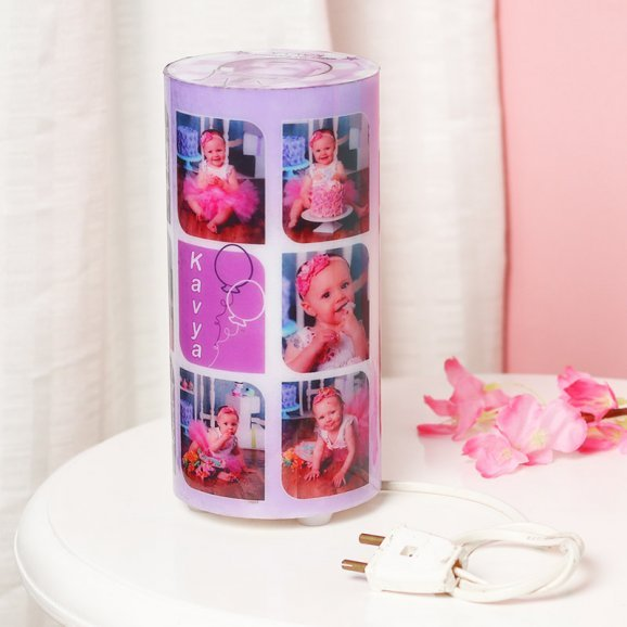Cylendrical Personalised Lamp with 6 Images with Front View