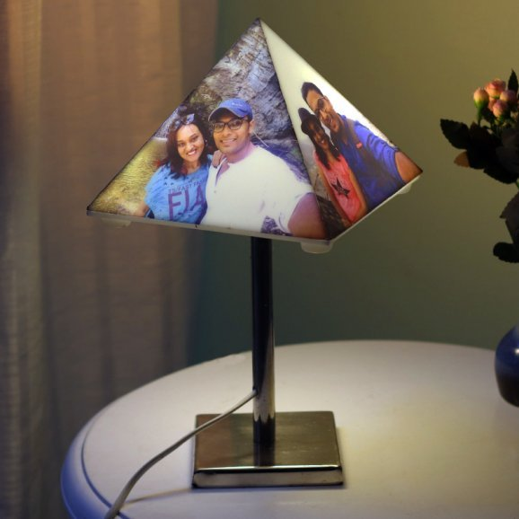 Pyramid Shaped Personalised Lamp with 4 Images