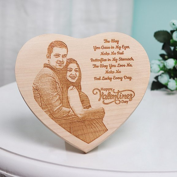 Personalised Heart Shaped Valentines Wooden Frame