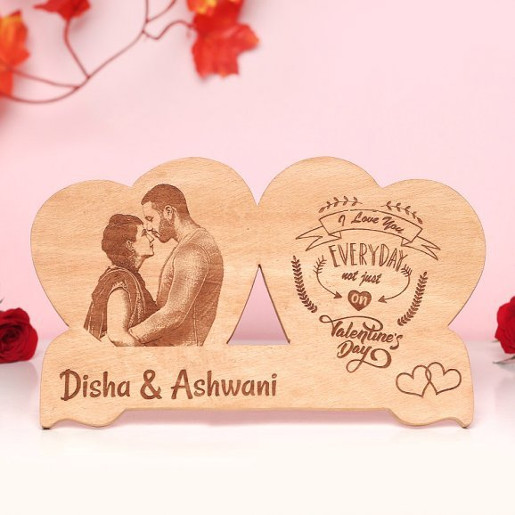 Personalised Double Heart Shaped Valentines Wooden Frame