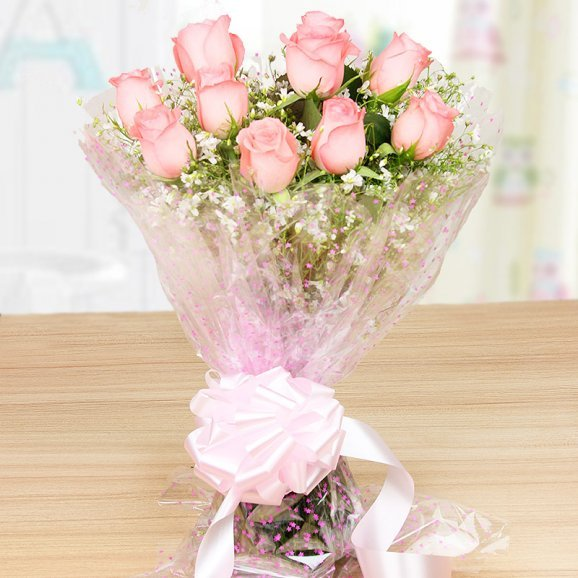 10 Pink roses bouquet - Part of Pinkalicious Chocolate Delight