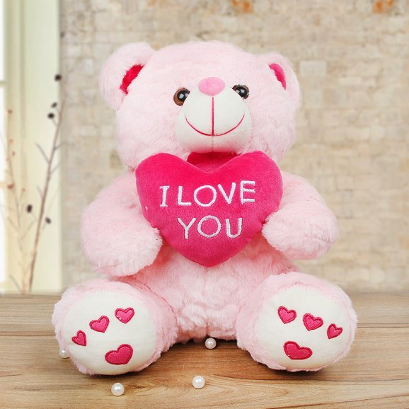 Pink color love teddy