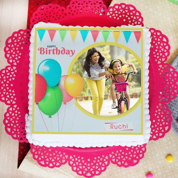 Vibrant Attraction Photo Cake for birthday celebration