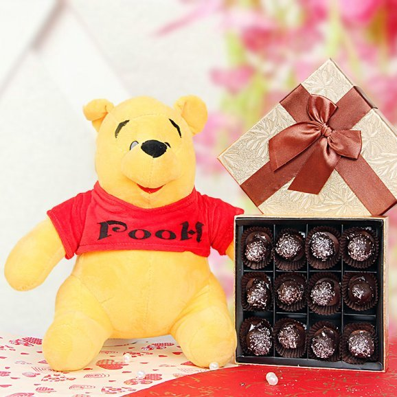 Pooh teddy and chocolates combo