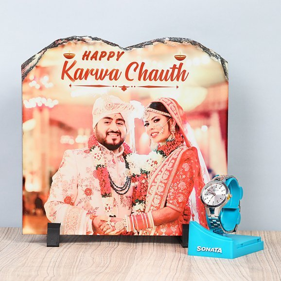 Personalised Photo Frame with Watch for Wife