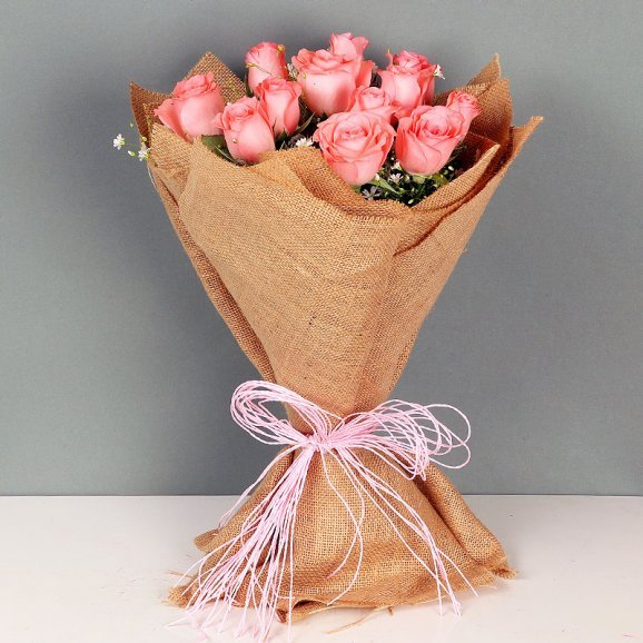 Bunch of Pink Roses in Jute Packing