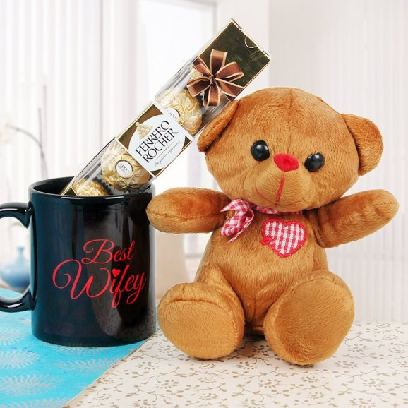 Brown Teddy with a Mug and Four Ferrero Rochers
