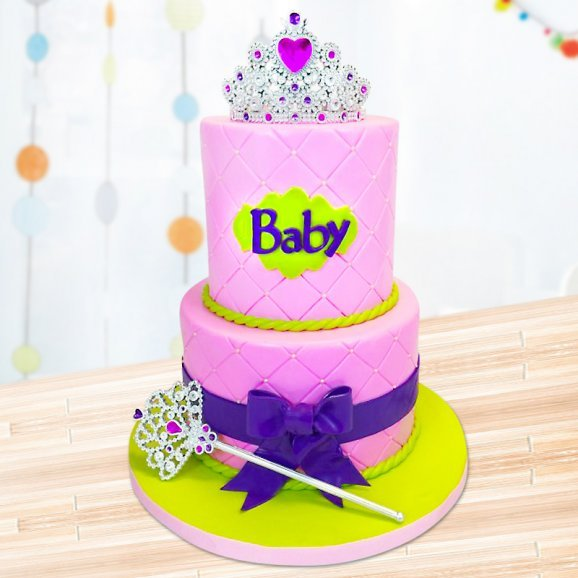 2 tier princess tiara cake for girls
