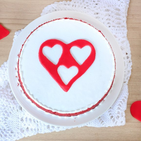 Radiant Bliss - Red Velvet Cake with Heart in Centre - Top View