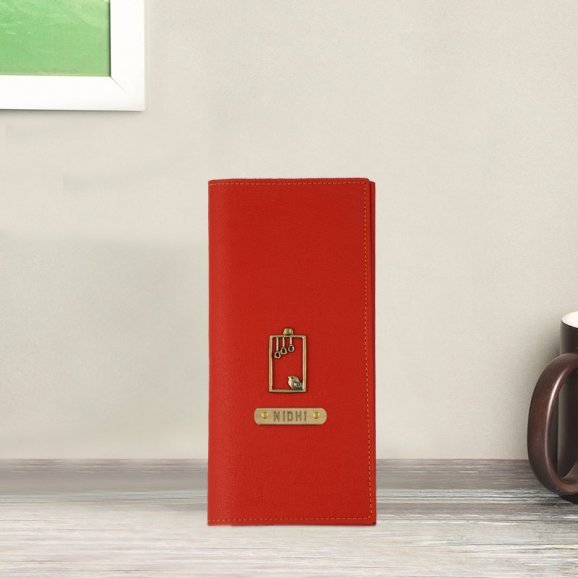 Personalised Red Coloured Travel Folder
