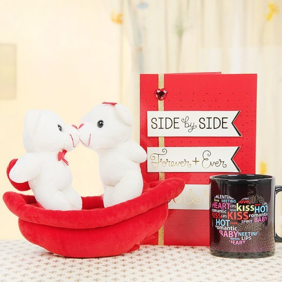 A Kissing Couple Teddy with a Kug and a Card