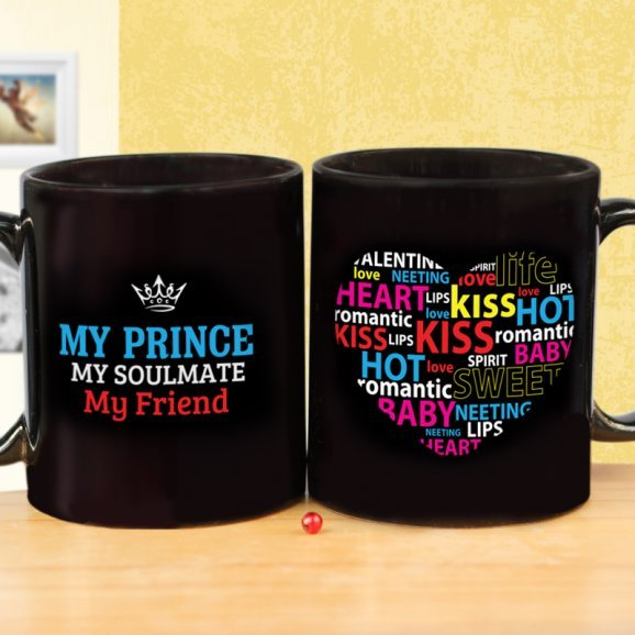 Black Quoted Mug for Friend with Both Sided View