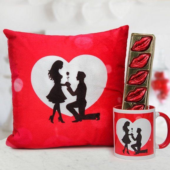 12x12 proposing cushion a Red White proposing Coffee Mug and A pack of lip-shaped handmade Chocolates